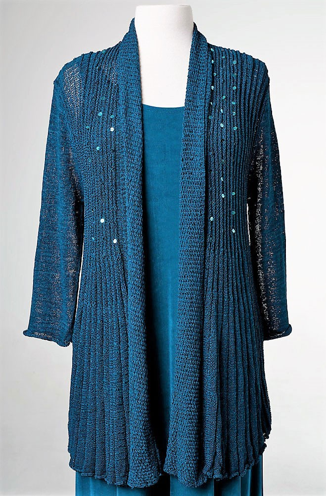 Sexy Long Teal Cardigan with Bling. (7 days to ship). #CR1001-17