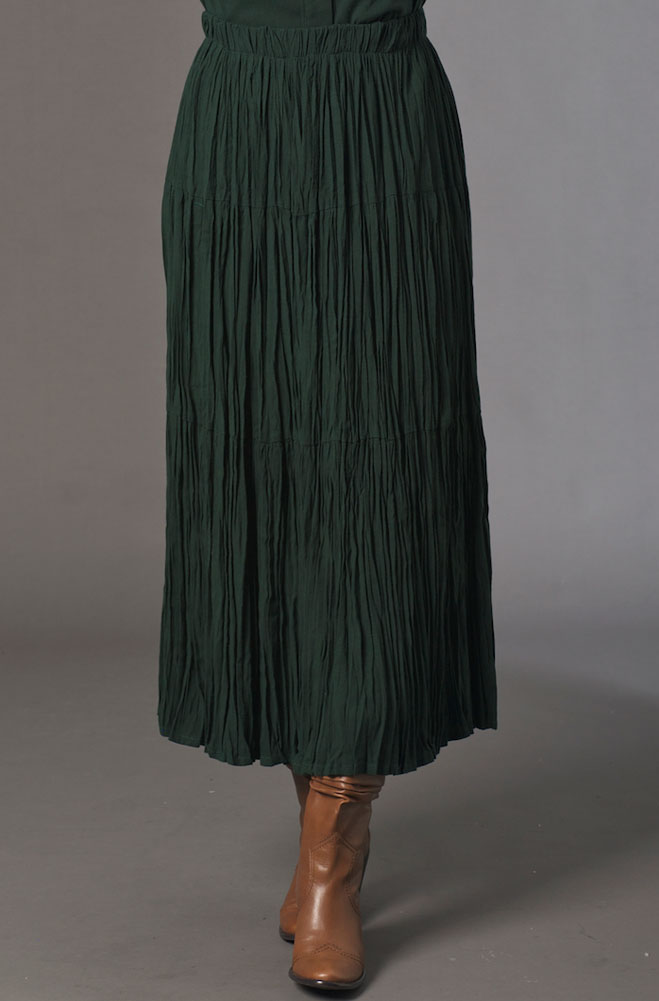 Forest Green Long Broomstick Skirt. (10 days to ship). #5082