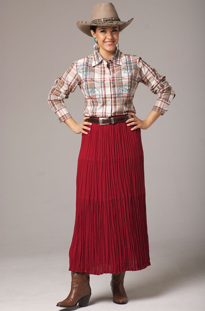 Red Long Broomstick Skirt. #5087