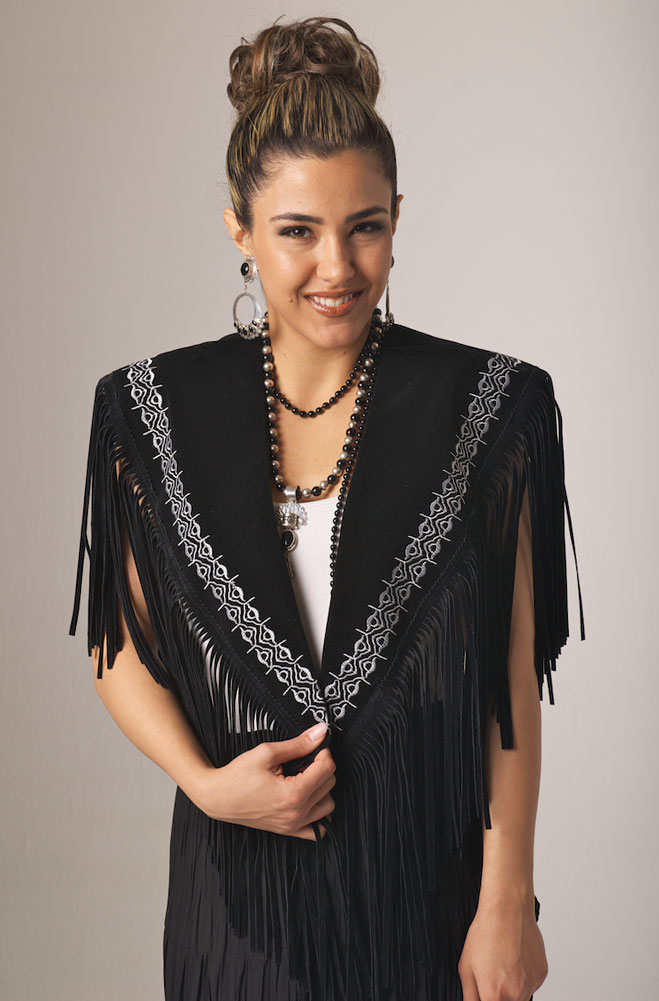 Elegant Black and White Embroidered Shawl. (10 days to ship). #SH1002-17