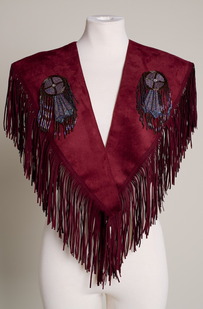 Burgundy Southwestern Beaded Shawl. (10 days to ship). #SH1010-17 Limited Edition
