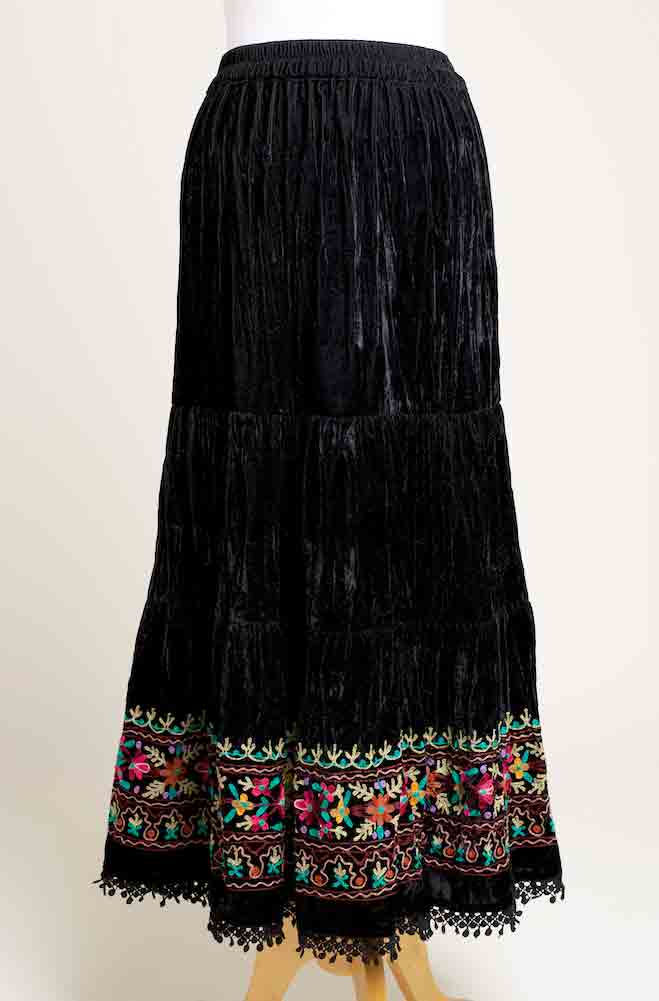 Sexy Velvet Embroidered Southwestern Style Skirt. (7 days to ship) Limited Edition #SK5003-17
