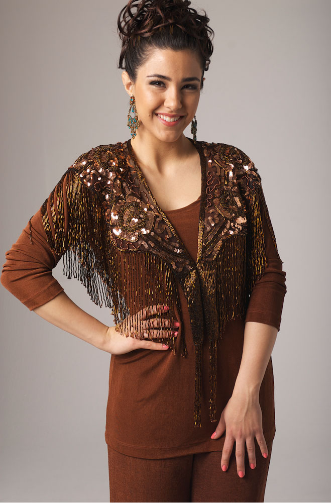 Beaded Copper Shawl With Fringe. #2102BD