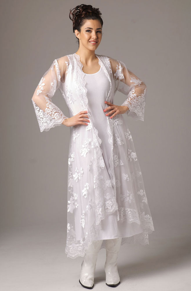 Embroidered Organza Long Wedding Jacket. (2 weeks to ship). [Limited Edition]. #6047Emb