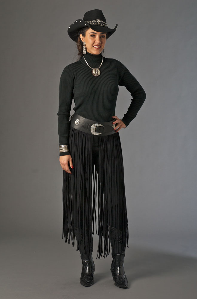 Long Fringe Deer Skin Leather Belt. (4 weeks to ship). #1314
