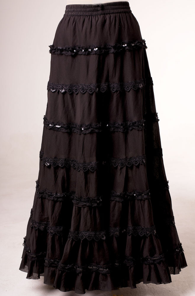 Tiered Romantic Black Embellished Skirt. (7 days to ship). [Limited Edition]. #5098