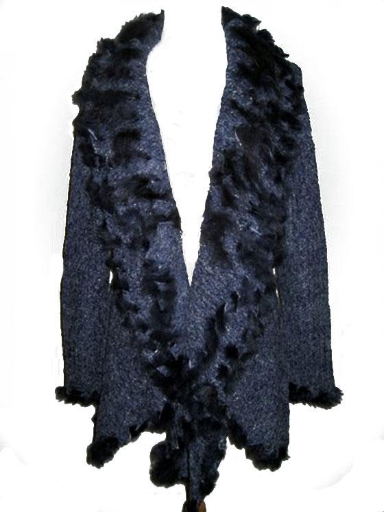 Western Knit Cardigan with Rabbit Fur. #WSC101