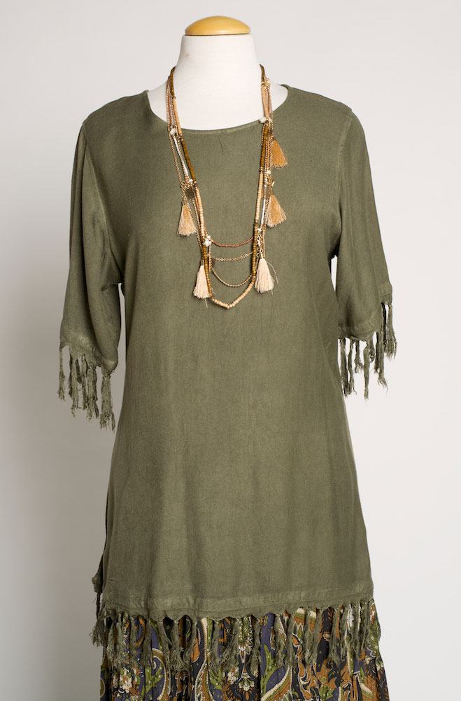 Western Olive Long Tunic. (7 days to ship). #TP12002-17