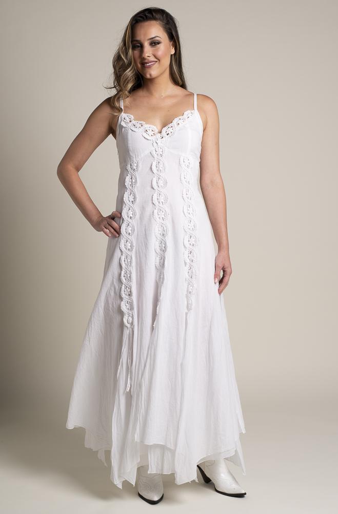 White Bohemian Western Wedding Dress in Cotton. #DRCT 1118