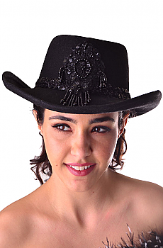 Western Gamblers Felt Black Sequined Hat. (10 days to ship). #1210