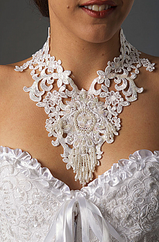 Western Wedding Lace Sequined Choker. #1603