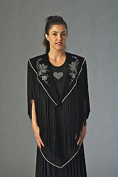 Black Velvet Shawl with Rhinestone Applique. (10 days to ship). [Limited Edition]. #2056