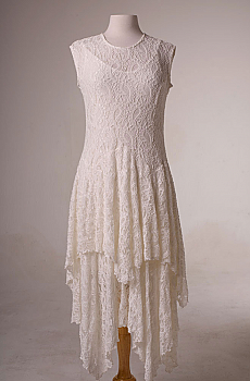 Handkerchief Hem Lace Ivory Dress. (7 days to ship). [Limited Edition]. #10012D