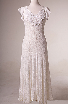 Fit and Flare White Dress with Embellishment. (15 days to ship). [Limited Edition]. #10016W