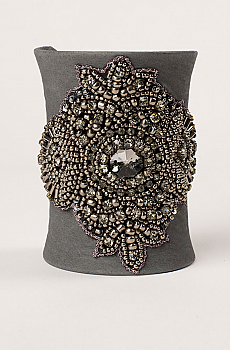 Exquisite Gray Suede Wide Hand Beaded Cuff. #106 Cuff