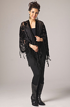 Black Beaded Shawl. (7 days to ship). #2103BD