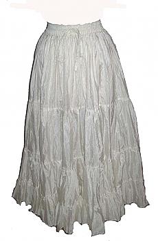 Romantic White Ruffled Silk Taffeta Skirt. (3 days to ship). [Limited Edition]. #5051 Shiba