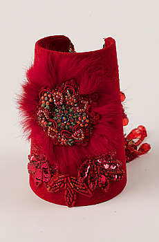 Exquisite Red Suede Beaded and Sequined Cuff Bracelet. #C160B