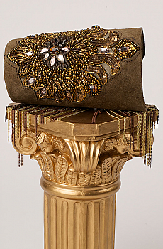 Exquisite Khaki Beaded Suede Hand Made Cuff Bracelet. #C161B