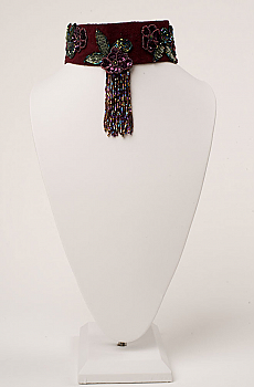 Elegant Beaded Burgundy Suede Collar. (3 days to ship). [Limited Edition]. #NCK27