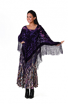 Boho Chic Purple Velvet Poncho and Purple Print Skirt. (7 days to ship). [Limited Edition]. #Outfit 0026