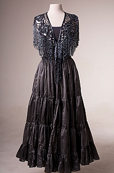 Gunmetal Grey Beaded Shawl and Skirt. [Limited Edition]. #Outfit 0060