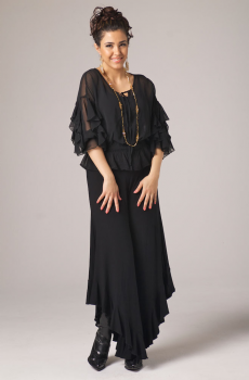Ruffled Blouse Gaucho Pant Outfit. [Limited Edition]. #Outfit 0062