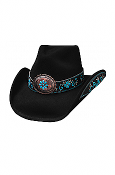 All for Good Black and Turquoise Hat. (7 days to ship). #0476BL