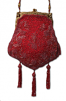 Beaded Victorian Burgundy Purse. [Limited Edition]. #1107BD