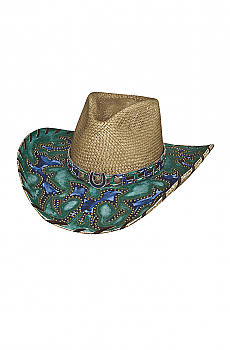 Straw Cowgirl Hat Wind of Chance. (7 days to ship). #2737Hat