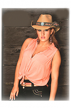Women?s Straw Cowgirl Hat - Meaningful Beauty. (7 days to ship). #2783Hat