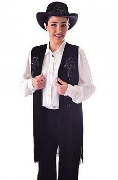 Western Black Velvet Beaded Fringed Vest. #8009V