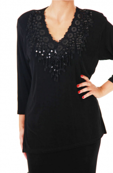 Black V Neck Tunic Top Sequined Trim. (7 days to ship). [Limited Edition]. #ATC378LBSEQ