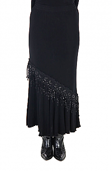 Black Sexy Flounce Long Skirt with Sequins. (7 days to ship). [Limited Edition]. #ATC531LS-SEQ