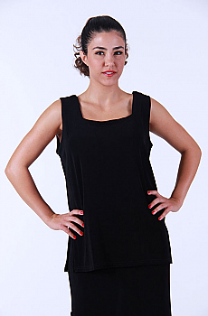 Black Two Way Front Western Tank Top. (10 days to ship). [Limited Edition]. #ATC-LB300