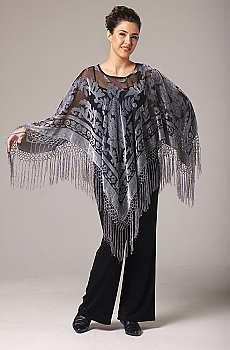 Grey Burnt Out Velvet Poncho Top. (3 days to ship). #BO1137