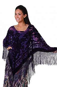 Boho Chic Purple Burn Out Velvet Poncho. #BO115P