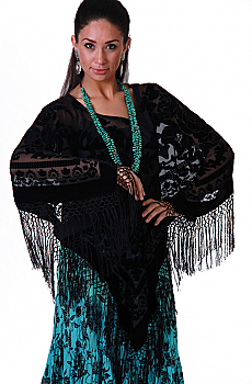 Boho Chic Black Poncho Velvet Top. #BO116P