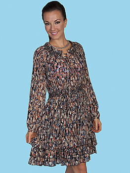 Scully Feather Print Summer Dress. #HC76