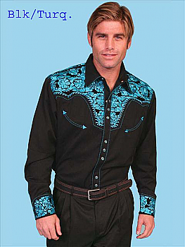 All Over Embroidered Shirt by Scully. #P-634 - More Colors