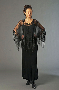 Black Beaded Poncho. (3 days to ship). [Limited Edition]. #PA01