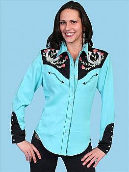 Scully Women's Horse shoe and Rose Shirt. (7 days to ship). #PL-637