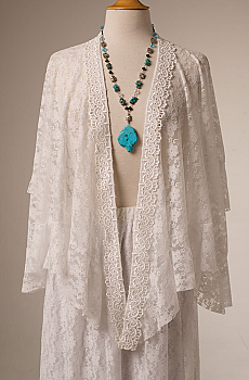 Romantic White Lace Ruffled Western Shawl. (10 days to ship) [Limited Edition]. #2112