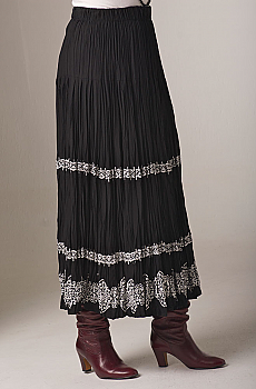 Long Broomstick Embroidered Skirt. #5109