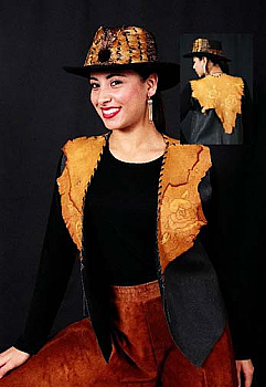 Two Tone Tooled Leather Vest. #AE161
