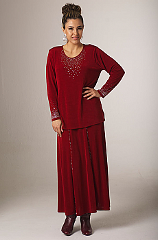 Dark Red Sparkly Skirt Outfit. [Limited Edition]. #Outfit0066