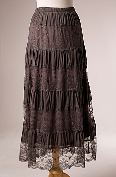 Lace Tiered Long Skirt. #5119