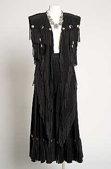 Elegant Black Suede Long Vest and Gaucho. (6 weeks to ship) [Limited Edition]. #Outfit1001-16