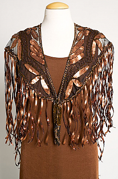 Beaded Buffalo Copper Color Shawl. [Limited Edition]. #SH1001-17 (Two weeks to ship)