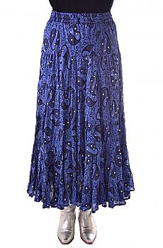 Boho Chic Periwinkle Sexy Paisley Print Skirt. #BO203